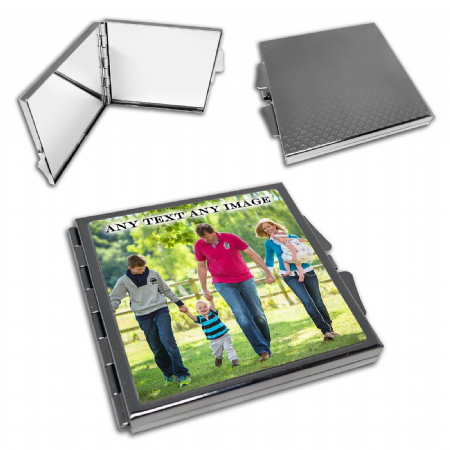 Personalised Any Text / Any Image Square Compact Mirror